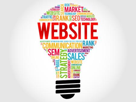 creation of sites: WEBSITE bulb word cloud, business concept Illustration