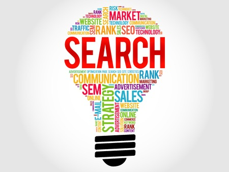 keywording: SEARCH bulb word cloud, business concept