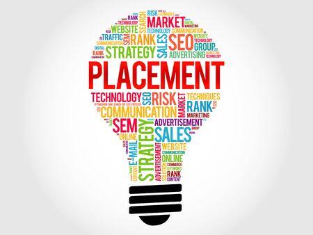 placement: PLACEMENT bulb word cloud, business concept