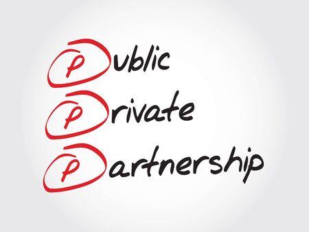 PPP - 公共と民間のパートナーシップ、頭字語ビジネス コンセプト