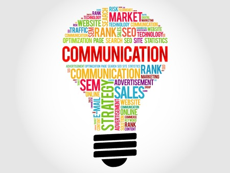 nonverbal: COMMUNICATION bulb word cloud, business concept