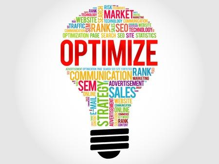 optimisation: OPTIMIZE bulb word cloud, business concept Illustration