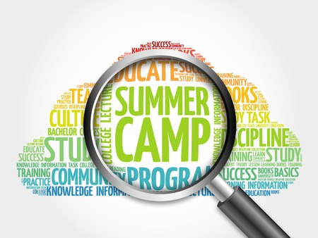 camp: Summer Camp word cloud with magnifying glass, concept