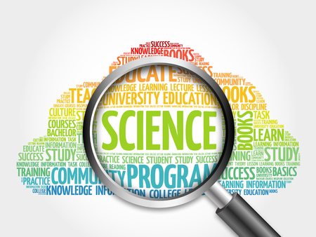 SCIENCE word cloud with magnifying glass, concept