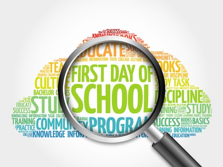 first day: First day of school word cloud with magnifying glass, concept