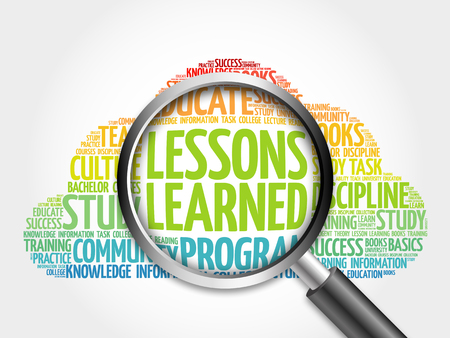 summarize: Lessons Learned word cloud with magnifying glass, concept