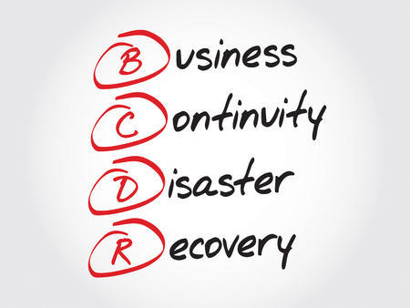 contingency: BCDR - Business Continuity Disaster Recovery, acronym business concept