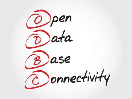 conectividade: ODBC Open Database Connectivity, acronym business concept