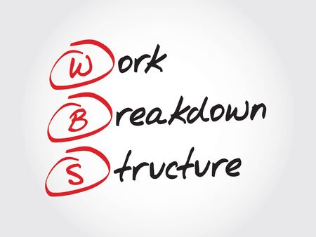 breakdown: WBS - Work Breakdown Structure, acronym business concept