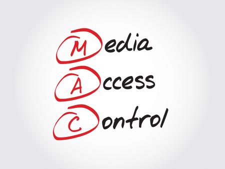 access control: MAC Media Access Control, acronym concept Illustration