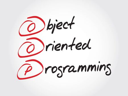 compiler: OOP Object Oriented Programming, acronym business concept Illustration
