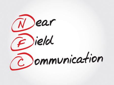 business communication: NFC Near Field Communication, acronym business concept