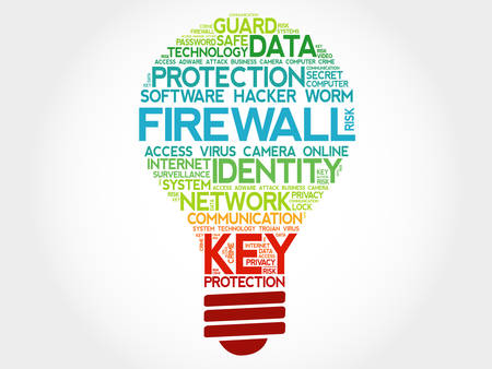 adware: FIREWALL bulb word cloud, business concept