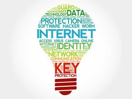 malicious software: INTERNET bulb word cloud, business concept