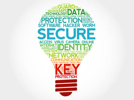 malicious software: SECURE bulb word cloud, business concept Illustration