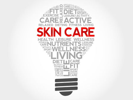 to care: Skin care bulb word cloud, health concept