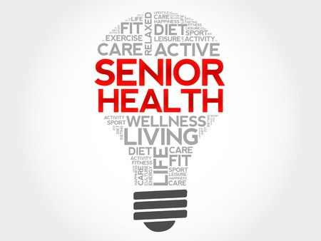 brain aging: Senior health bulb word cloud, health concept Illustration