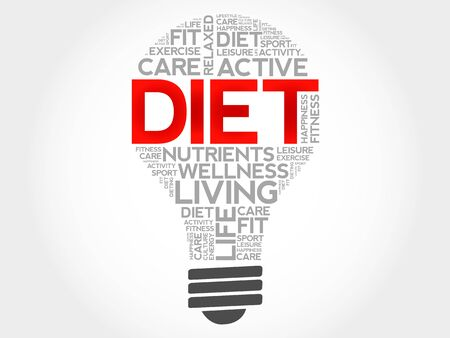 Diet bulb word cloud, health concept Illustration