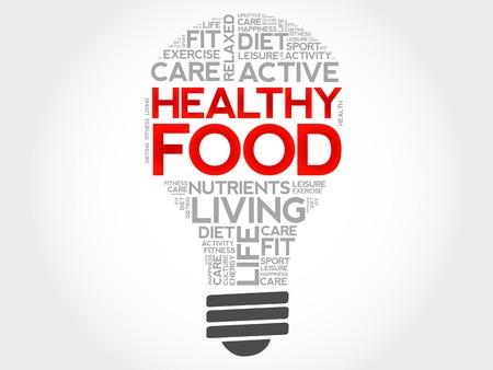 health concept: Healthy Food bulb word cloud, health concept