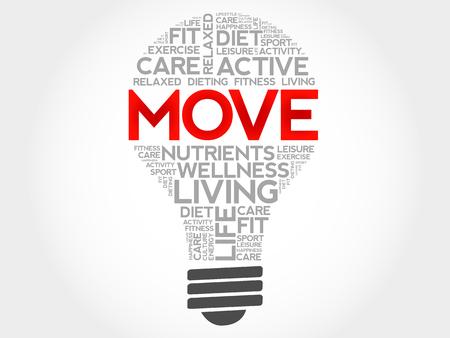 health concept: MOVE bulb word cloud, health concept