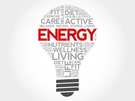 participate: ENERGY bulb word cloud, health concept