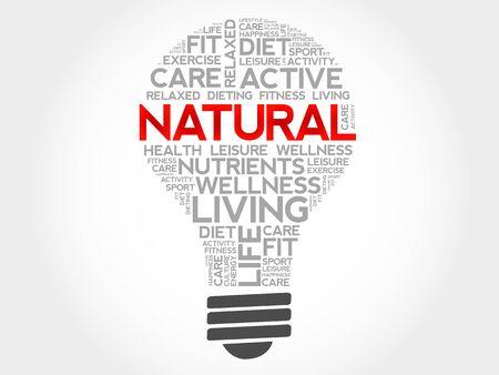 health concept: NATURAL bulb word cloud, health concept