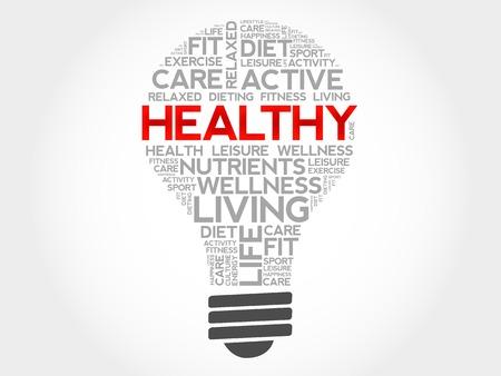 health concept: HEALTHY bulb word cloud, health concept
