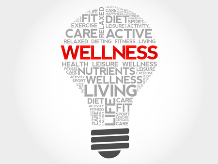think safety: WELLNESS bulb word cloud, health concept