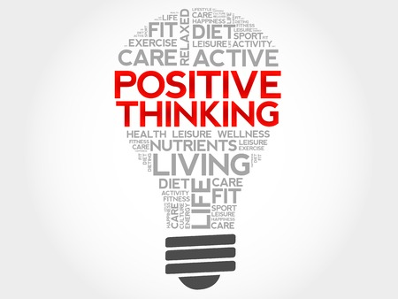 health concept: Positive thinking bulb word cloud, health concept