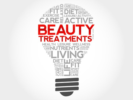 spa collage: Beauty Treatments bulb word cloud, health concept Illustration