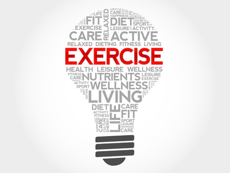 feel good: EXERCISE bulb word cloud, health concept Illustration