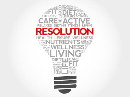 resolution: RESOLUTION bulb word cloud, health concept Illustration