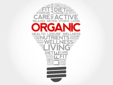 increase fruit: ORGANIC bulb word cloud, health concept Illustration