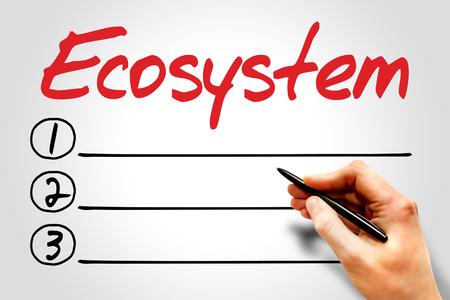 ecosystem: Ecosistema de lista en blanco, el concepto de medio ambiente Foto de archivo