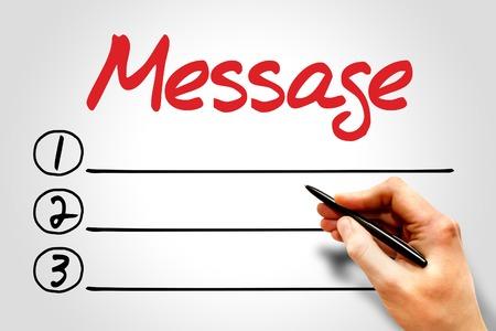 advisement: Message blank list, business concept