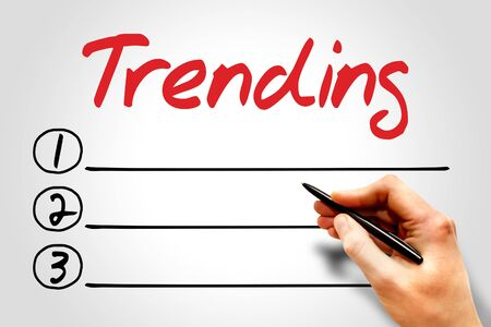 business trending: Trending blank list, business concept