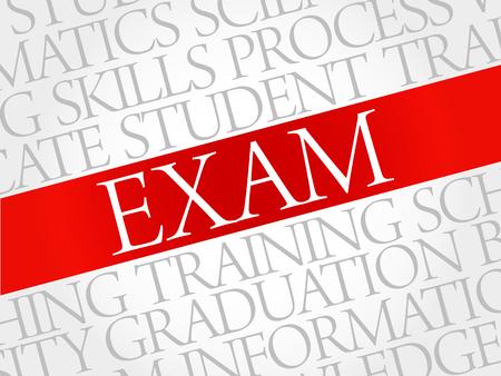 examiner: EXAM. Word cloud education collage Illustration