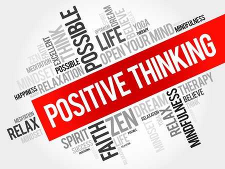 health collage: Positive thinking word cloud, business concept