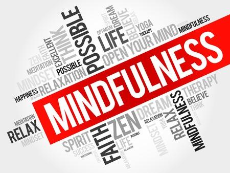 mente: Palabra Mindfulness concepto de nube Vectores