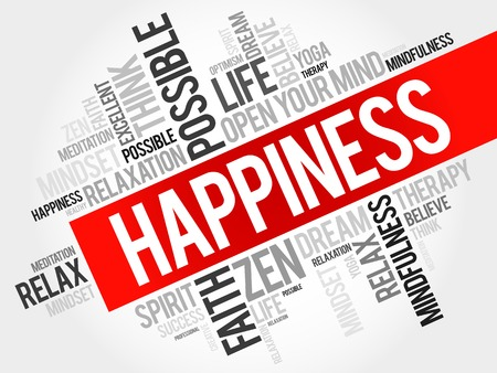 character traits: Happiness word cloud concept Illustration