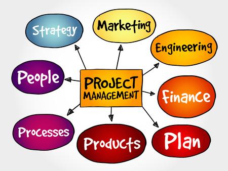 managment: Project management mind map, business concept