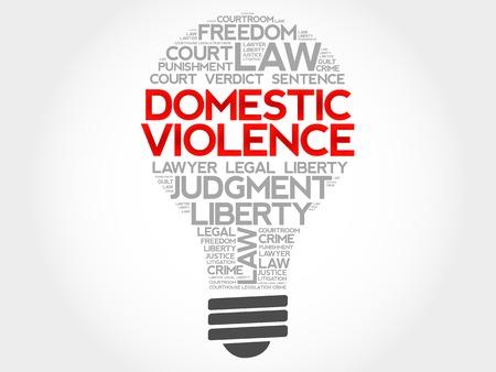 marital: Domestic Violence bulb word cloud concept Illustration