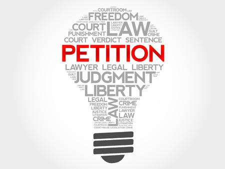 court process: Petition bulb word cloud concept
