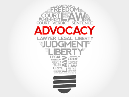 advocacy: Advocacy bulb word cloud concept