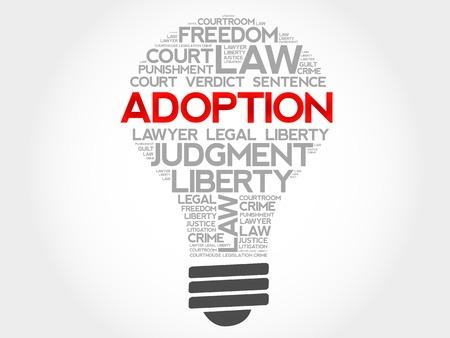 orphan: Adoption bulb word cloud concept