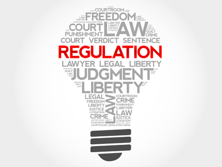 regulierung: Regulation bulb word cloud concept