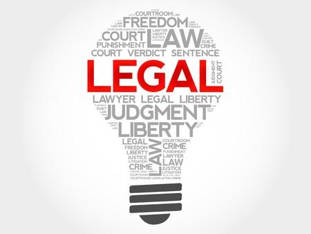 judicial system: Legal bulb word cloud concept Vectores