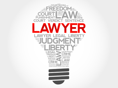 solicitor: Lawyer bulb word cloud concept