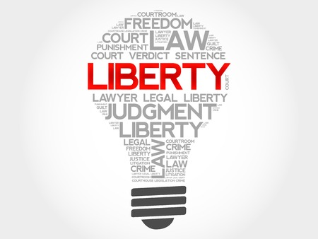 independency: Liberty bulb word cloud concept Illustration