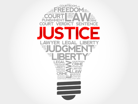 race relations: Justice bulb word cloud concept